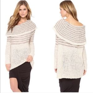 Free People Engineered Striped Cowl Neck Sweater